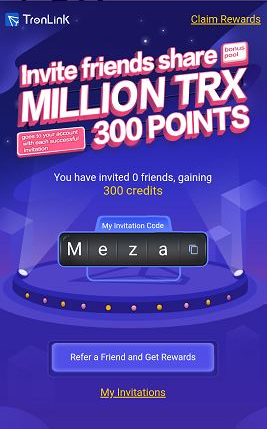 #TronLink #BONUS 300 points free with my link (exchange credits for #TRX, ETH, BTC, or ##BTT...) Or click claim rewards and get points with code Meza #Airdrops #Crypto #TRX https://t.co/l7qvsmNoW6 @cctip_io airdrop 0.0001 eth 55 https://t.co/Acjd3Tvudh
