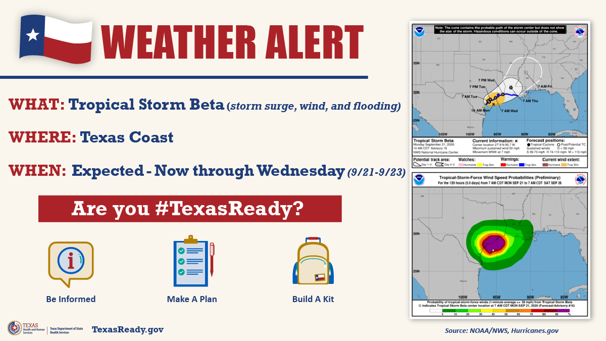 🚨⛈️Weather Alert: #TropicalStormBeta is causing storm surge and winds. Severe weather and flooding expected through Wednesday. Be #TexasReady: Road conditions: drivetexas.org Texas Hurricane Center: gov.texas.gov/hurricane Disaster safety info: TexasReady.gov