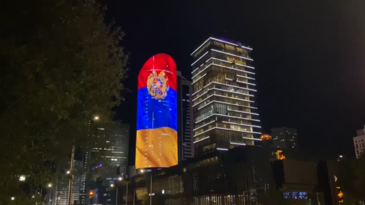Congratulatory gesture from friendly @Kazakhstan🇰🇿. The colors of national flag & the Coat of arms of #Armenia🇦🇲 light up the evening in #NurSultan. Thank you! ❤️💙🧡 #Independence29 https://t.co/1cd47nMfQ2