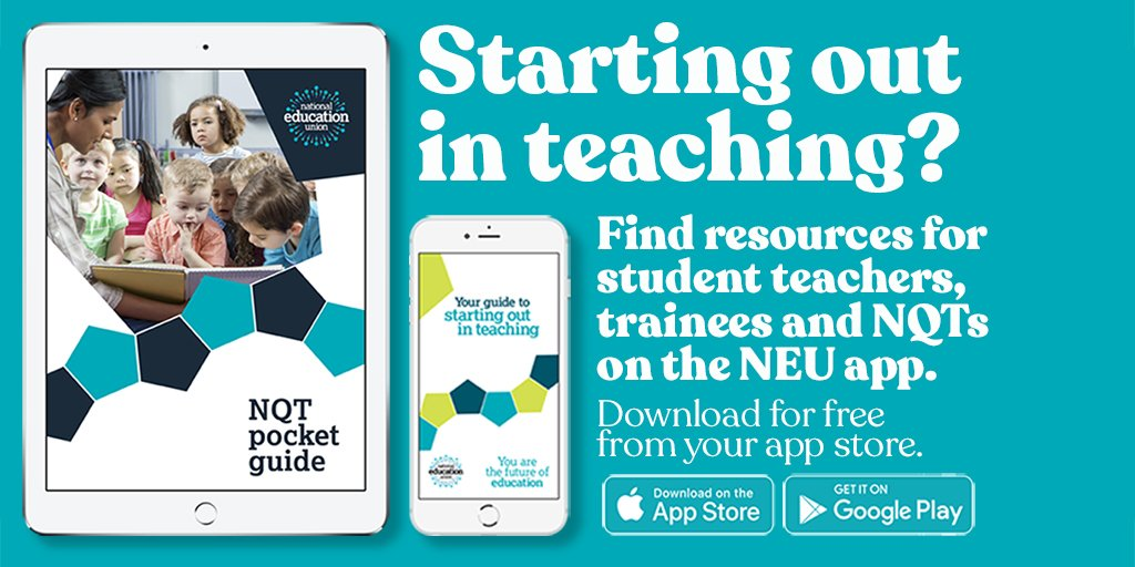 New to teaching or starting your training? New Teachers' Hub on the NEU app has a suite of student, trainee & NQT materials to help you through your journey.   Download the app now from the App store👉https://t.co/BuEeUMXdov or Google Play👉https://t.co/bI9auVeGf7 https://t.co/YH2Ctmiwdn
