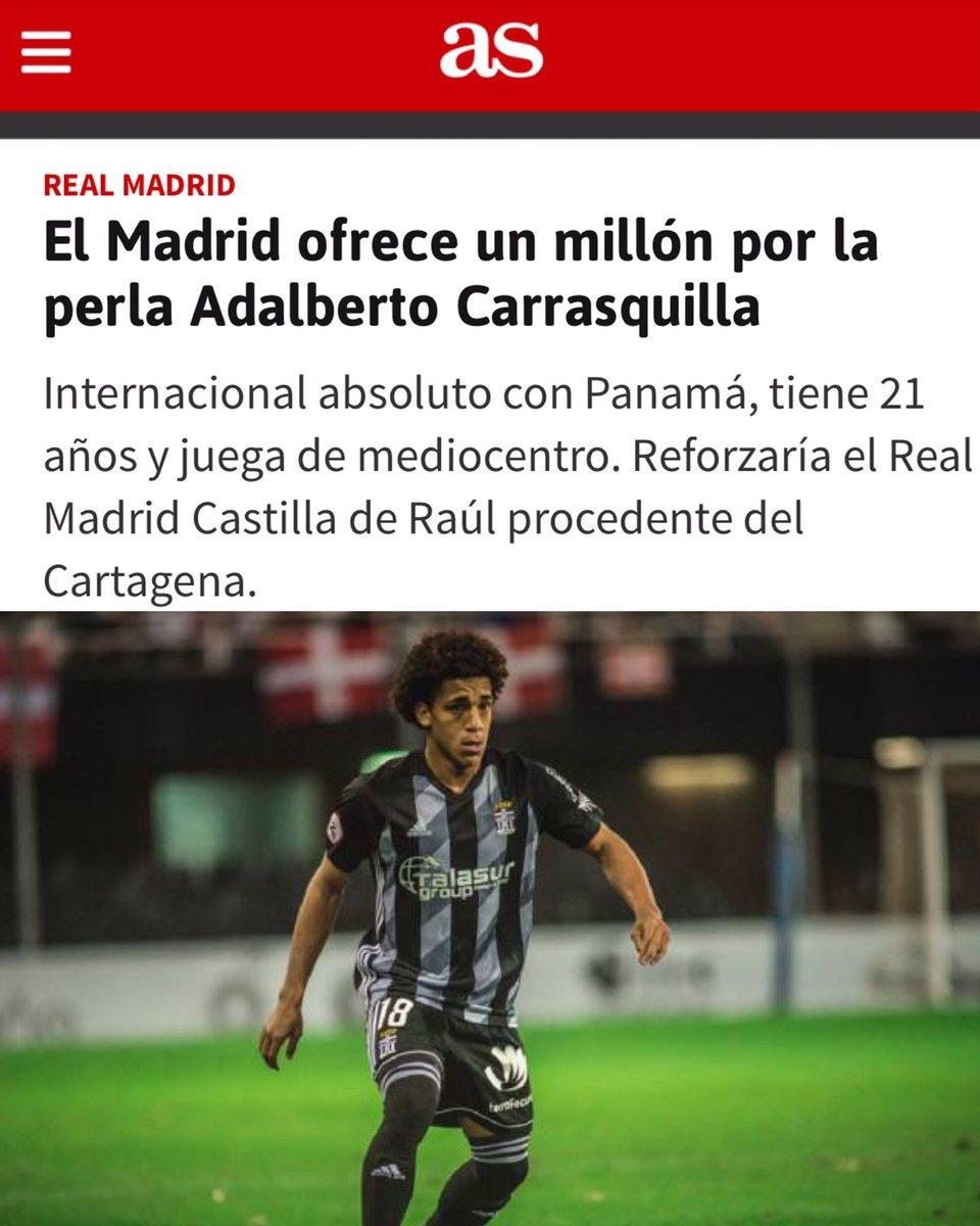 CARRASQUILLA AL REAL MADRID  Según medios de España, entre ellos el Diario AS, el Real Madrid Castilla tiene interés en el Panameño Adalberto Carrasquilla. #JMDeportes #RealMadrid https://t.co/ulcLKM7OUi