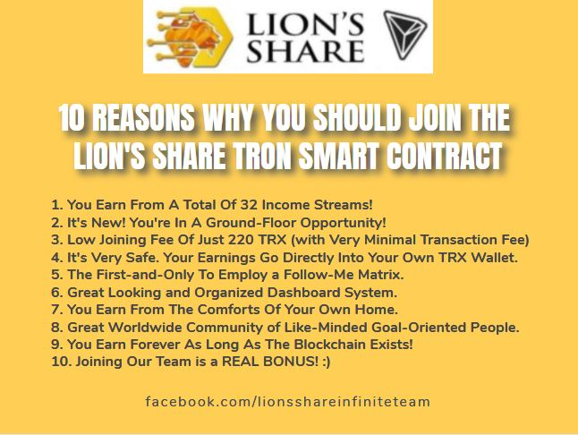 👍👍👍 10 REASONS WHY YOU SHOULD JOIN THE LION'S SHARE TRON SMART CONTRACT 👍👍👍  For those SERIOUS in joining our Infinite Team for the TRON Grand Launch, please go to our Whatsapp Group at  https://t.co/yk8BeT5Axw  #lionsshare #smartcontract #tron #trx #tronix #forsagetron https://t.co/gdnaw3cJND