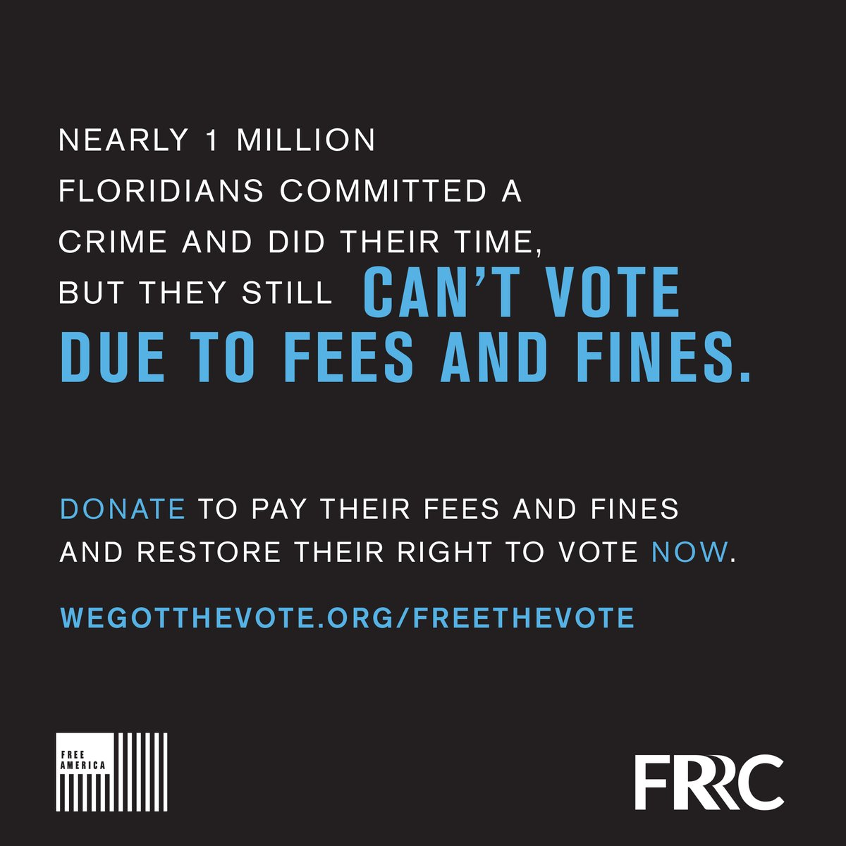 I'm proud to launch #FreeTheVote with @FLRightsRestore & @LetsFreeAmerica. Florida's pay-to-vote system stops formerly convicted individuals with fines & fees from voting. Donate what you can so returning citizens can register by the 10/5 deadline: https://t.co/xcIbqlt7s1 https://t.co/vJlhDoABHu