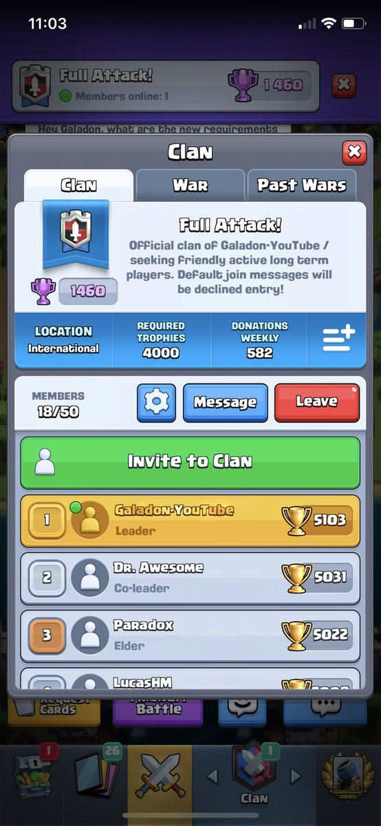 Looking for a Clash Royale clan? Join one of the oldest in the game - playing from day one - Full Attack! #LQR  If you're active and mature, you're welcome to join! Just be sure to read the clan description first if you want in! ;) https://t.co/dySS5uAWxZ