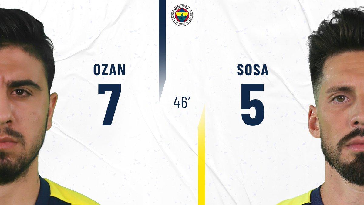 46' İkinci yarıda Ozan'ın yerine Sosa, Thiam'ın yerine Sinan oyunda.  #FBvHAT https://t.co/MmAjELXTsQ