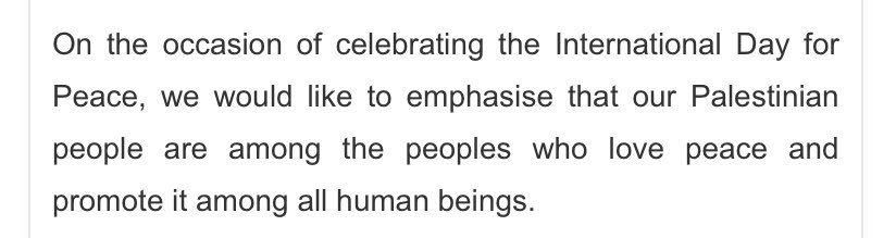 Hamas actually put out this statement...marking the International Day of Peace, ascribed to their Dr. Basim Naim