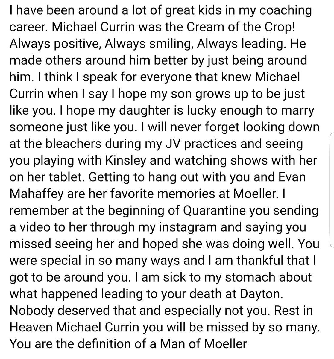 Rest in Heaven Michael Currin https://t.co/a4tDDOfzZD