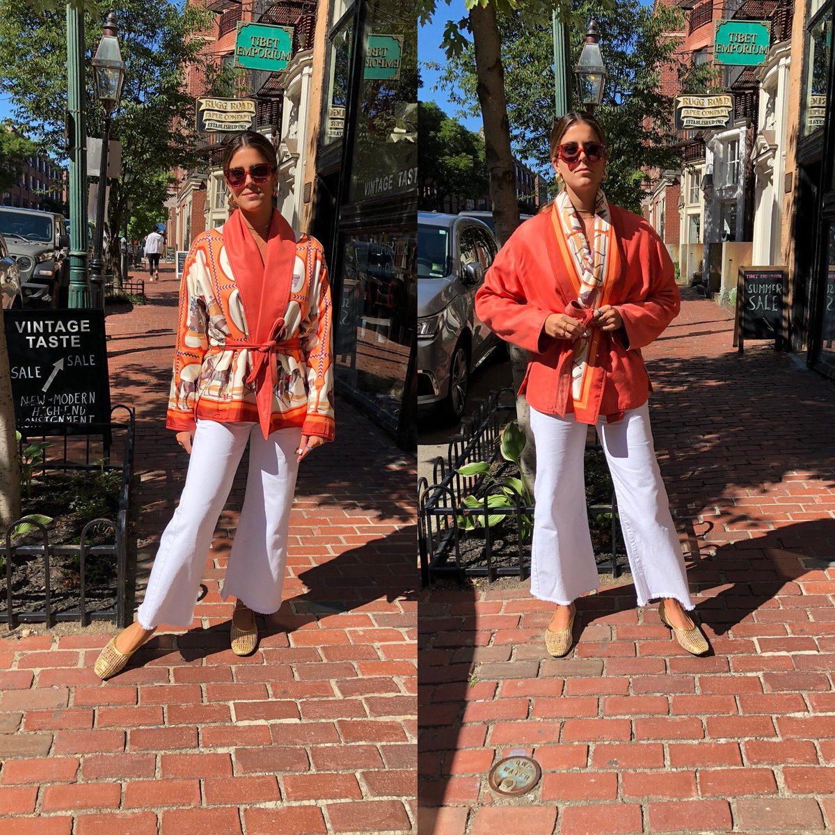 Looks like #twins but it's #Linsey in both pictures #looking #marvelous in this #reversible #hermes #silk & #cotton #jacket #chanel #jeans & #triwa #klara #shades #looksxlinsey                        Click our website Product page for sizes & prices https://t.co/IYcIHWuspg