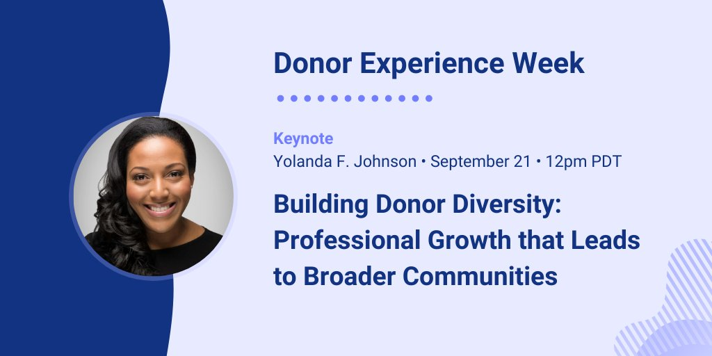 📯📯 Honored to have @YolandaFJohnson as our KEYNOTE SPEAKER for  #DonorExperienceWeek 2020 📯📯 Learn tools and strategies for creating a more just and equitable sector and society utilizing a DEI lens. You don't want to miss this. https://t.co/ml5ptiakkF https://t.co/gYcomDbMDp