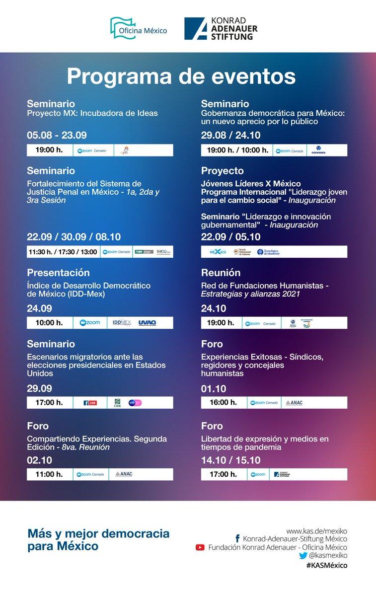 🔜¡Aparta la fecha! 📍 EVENTOS #KASMéxico 🇩🇪🤝🇲🇽  Te compartimos el programa de eventos para las siguientes semanas. Juntos por más y mejor democracia. 🇩🇪🤝🇲🇽  📲Sigue pendiente de nuestro sitio web https://t.co/jtbvpsnXnd y redes sociales. ¡Los esperamos! https://t.co/calwtOmTIV