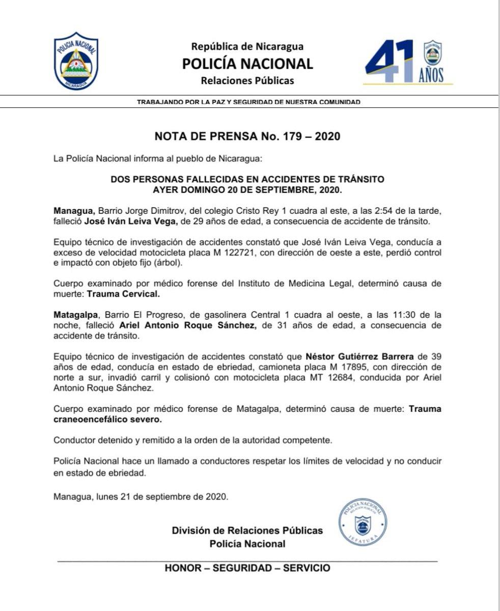 #LoQueSeVive  La Policía Nacional informa al pueblo de Nicaragua sobre el fallecimiento de dos personas en accidentes de tránsito ayer domingo 20 de septiembre. Un accidente ocurrido en el barrio capitalino Jorge Dimitrov y el otro en #Matagalpa.   https://t.co/55O9MQiwxe https://t.co/twpOr6oJif
