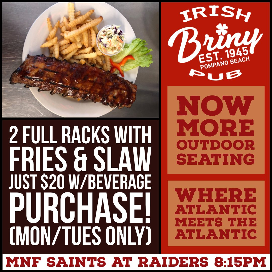 Check out our new Mon & Tues Special. Get 2 FULL RACKS w/ Fries & Cole Slaw for just $20 with a bev purchase. (eat in or takeout) MNF at 8:15PM Saints at Raiders #ribs #bbqribs #babybackribs #drinklocal #mnf #nfl #football #geauxsaints #nola  #whodat #saints #whodatnation https://t.co/u5tYOfyOUh