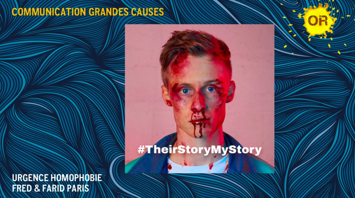 Communication grandes causes : un OR pour @UHomophobie et l'agence @FredFarid pour la réalisation « Their story is my story ». Félicitation à eux ! #gpstrat #StratFestival #Communication #Corporate https://t.co/MTaduwiEig