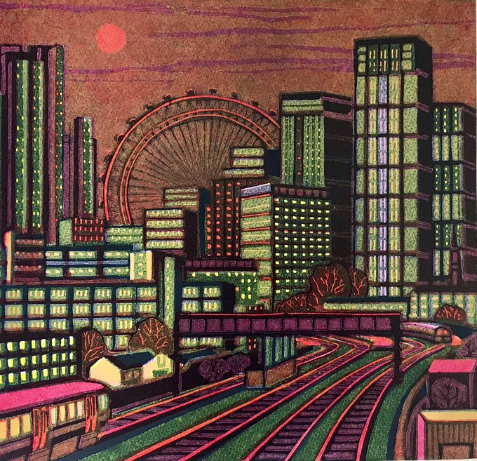 Waterloo Sunset by contemporary UK artist and printmaker Gail Brodholt #womensart