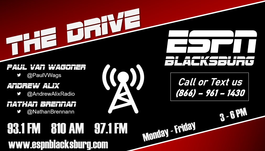 NOW on The Drive on @ESPNBlacksburg   3pm #KneeJerkReactions 4pm @EvanKHughes  4:30 @ChrisArvin_247  5pm @TechLunchPailD & @tinainvirginia with traffic  #Hokies #NFL #NBA #Recruiting #USOpen   Plus your calls and texts at 866-961-1430  #ListenLocal https://t.co/7CfAWsORJ4