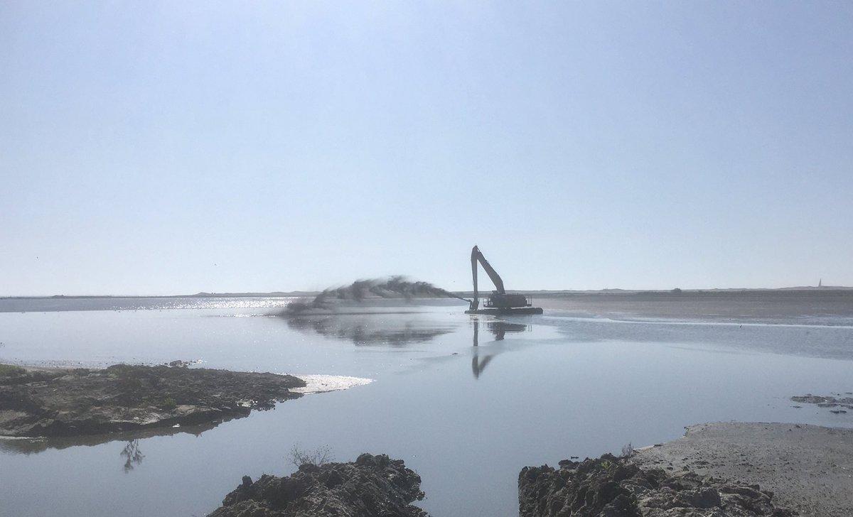 Dit najaar de laatste werkzaamheden aan de vijf eerste eilanden van Marker Wadden. Een 'moeraskraan' maakt een aantal geulen zodat vissen uit het Markermeer dit gebied kunnen gebruiken om te paaien. https://t.co/fGpLOUwKNy