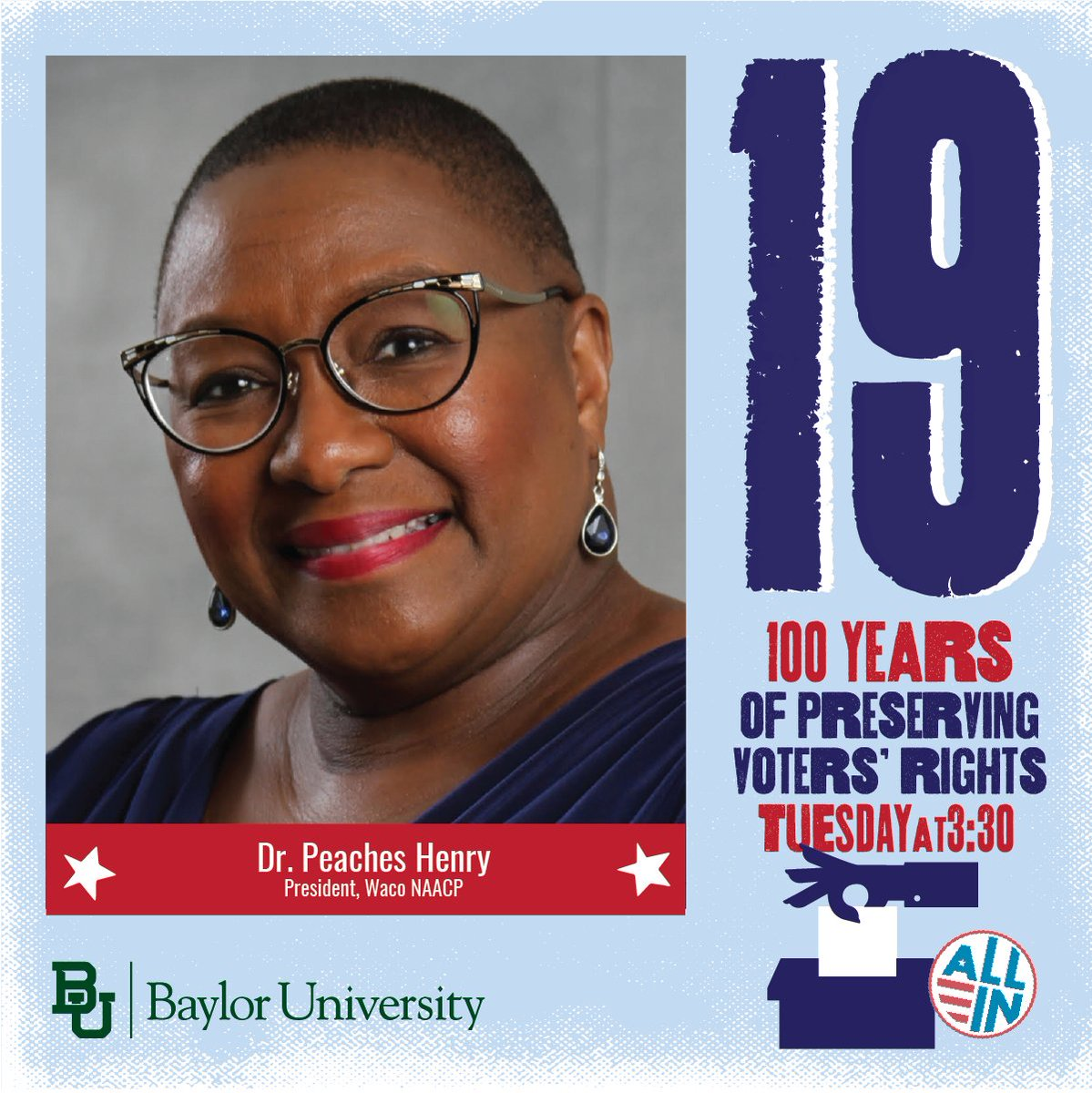 Got plans tomorrow at 3:30 p.m. CDT? Cancel them so you can hear Dr. Peaches Henry, President of Waco's #NAACP, talk about the #19thAmendment and voter's rights as part of a virtual panel discussion: https://t.co/IfJDSDD43G. https://t.co/O3nGMNsWak