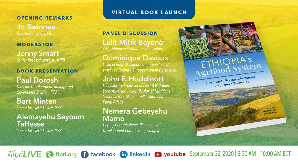 "#TMRW Sept 22 @8:30am, join @IFPRI for the 📗 #IFPRIBookLaunch, ""#Ethiopia's #agrifoodsystem: Past trends, present challenges, & future scenarios.""  Reg➡️https://t.co/SvFpoC8jXy Join➡️https://t.co/BAdQLgCass  #Africa #poverty @FitsumAdela @FCDOGovUK @USAID @ILRI @Livestock_Lab https://t.co/zWGeb933aB"