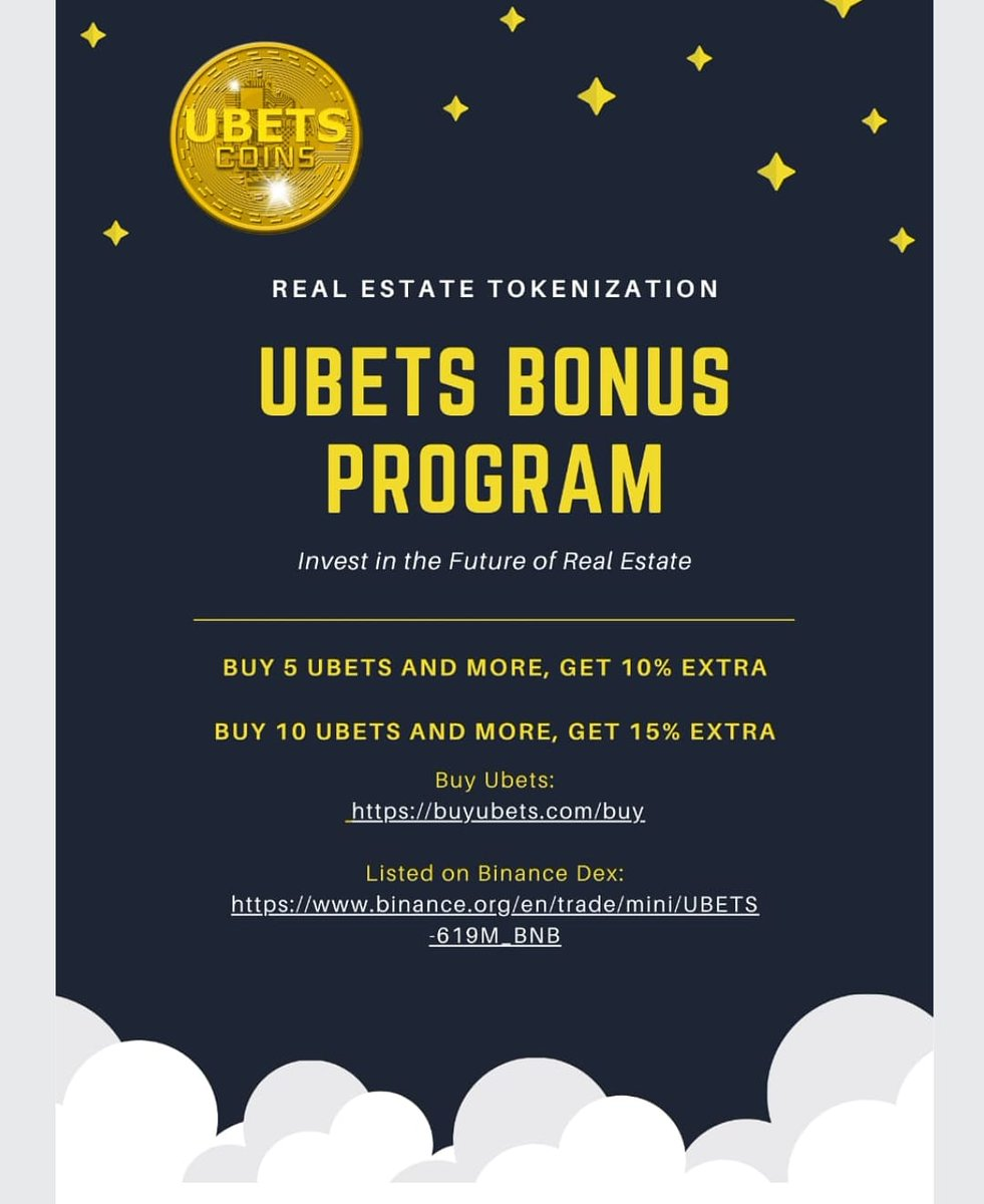 Invest in the Future of Real Estate  Buy Ubets Now! 🤩  https://t.co/cwVeXpADhr #realestate #future #ubets #Bonus https://t.co/lTqThiChYS