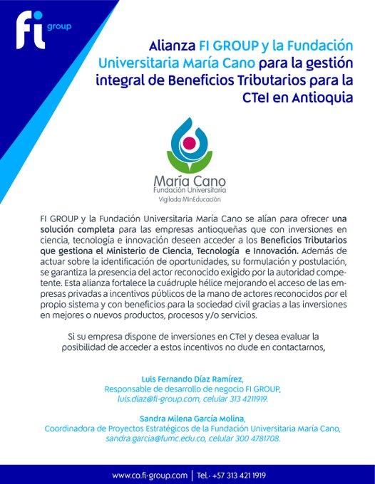 📢 FI Group y la Fundación Universitaria María Cano se alían para ofrecer una solución com....
