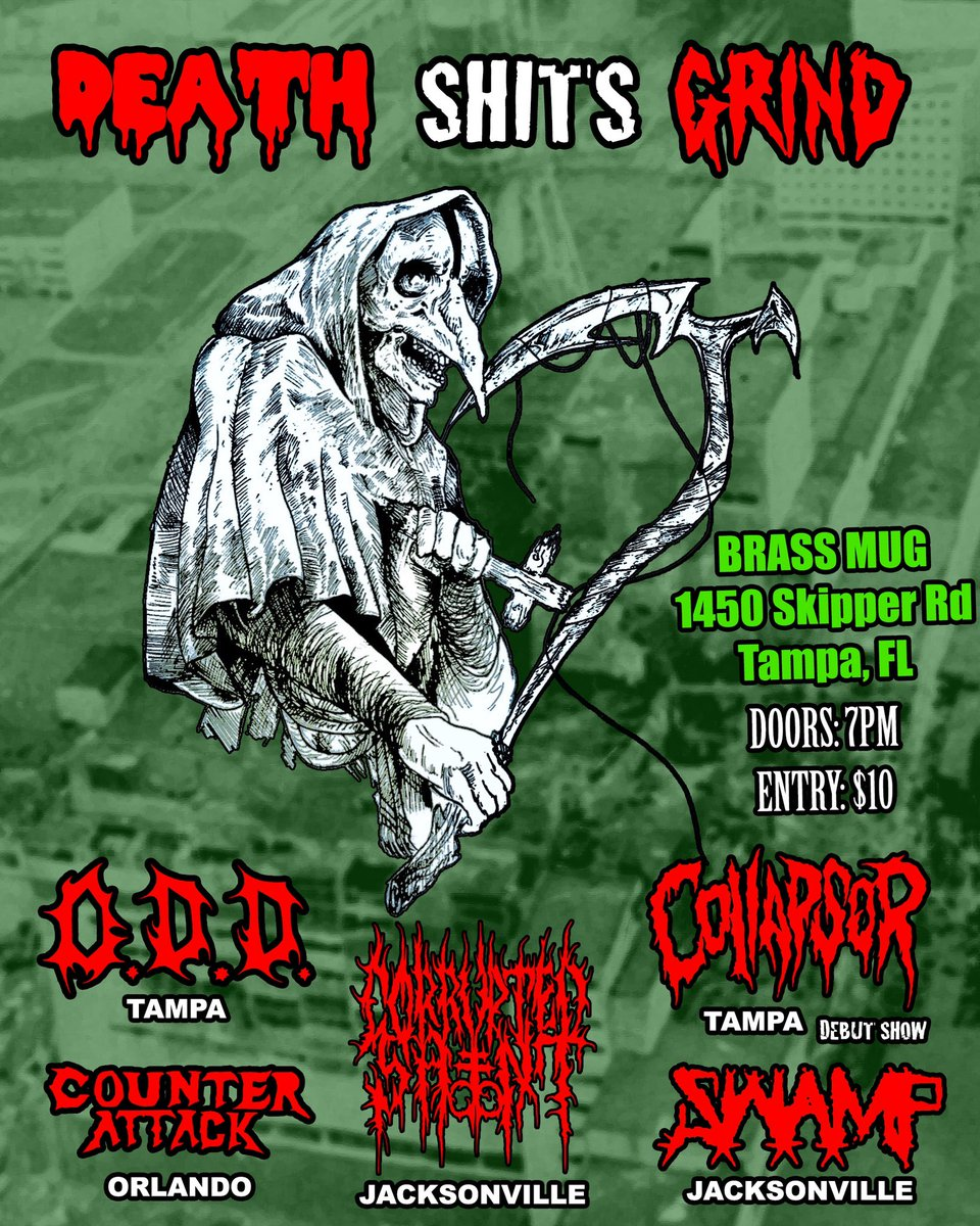 Our DEBUT SHOW is happening on Nov 14th at the Brass Mug, Tampa. Come join us on our blast beat party!!  #Collapsor #Grindcore #Crossover #ThrashMetal #Metal #Music #Live #Tampa  #BrassMug https://t.co/h0aVf58NbY