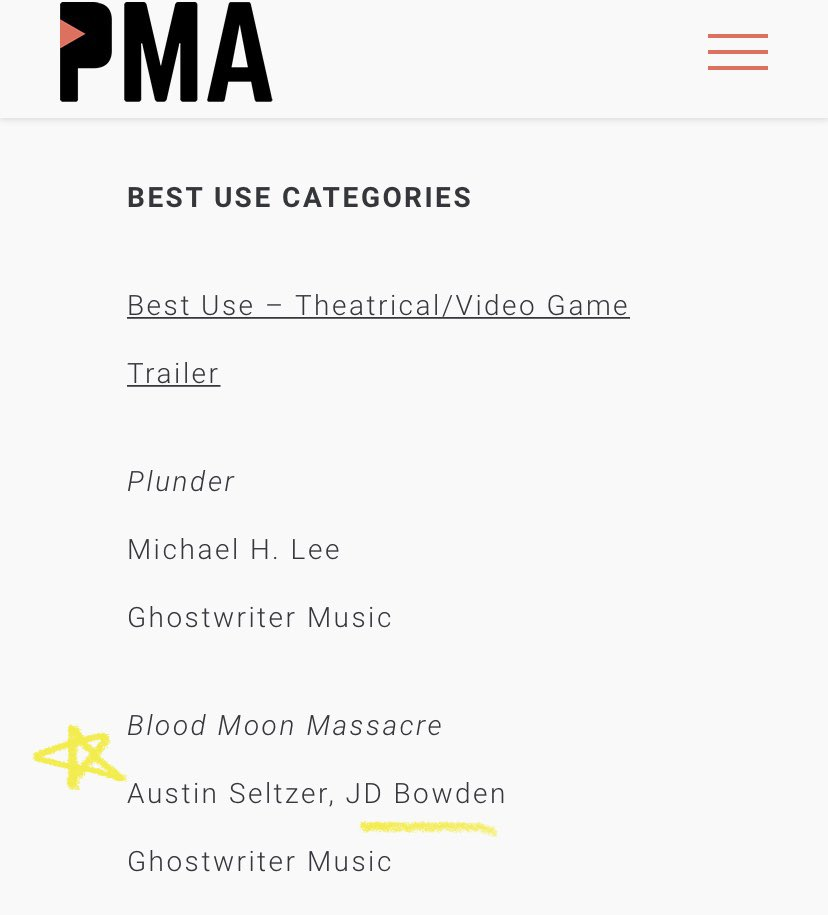 Got nominated for a @thePMAmusic Mark Award for some work I did on a trailer last year :) https://t.co/OD1G5WbGPF