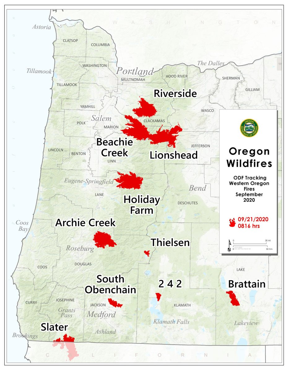Here's a snapshot of 10 large fires in Oregon. You can also find daily reports for all of these fires on the ODF Wildfire Blog: https://t.co/NfgvZY9IlI https://t.co/WdJOlFiHLr