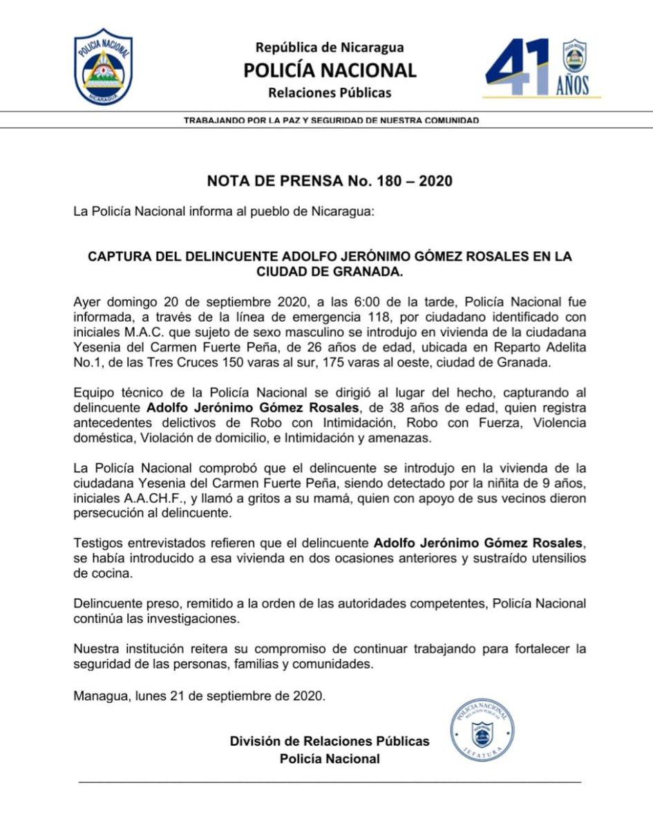 #LoQueSeVive  La Policía Nacional informa sobre la captura de delincuente, Adolfo Jerónimo Gómez, quien registra antecedentes delictivos de Robo con Intimidación, Violencia Doméstica, Violación de Domicilio, e Intimidación y amenazas, en #Granada.   https://t.co/55O9MQiwxe https://t.co/DhbTTwWgzw