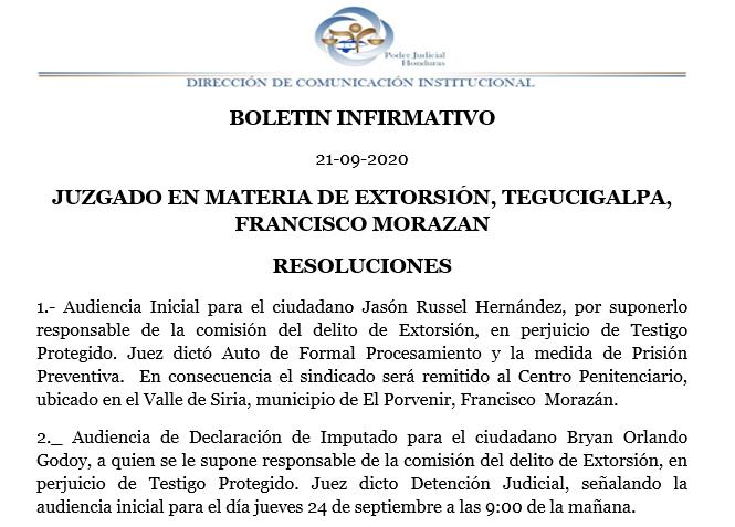 Resoluciones del Juzgado en materia de extorsión de #Tegucigalpa https://t.co/lS6DBKVyHz