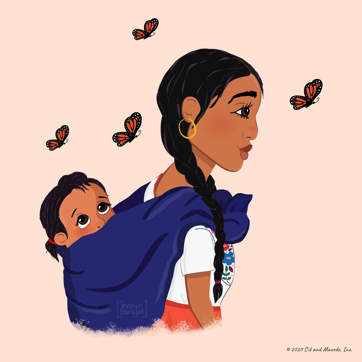"""We're proud to celebrate Latinx heritage every day of the year! Artwork by Evelyn Barajas, who was inspired to create this piece in honor of her Oaxacan mother, """"who often carried her children this way, wrapped in her rebozo."""" #LatinxHeritageMonth https://t.co/tlqFAYFkFK"""