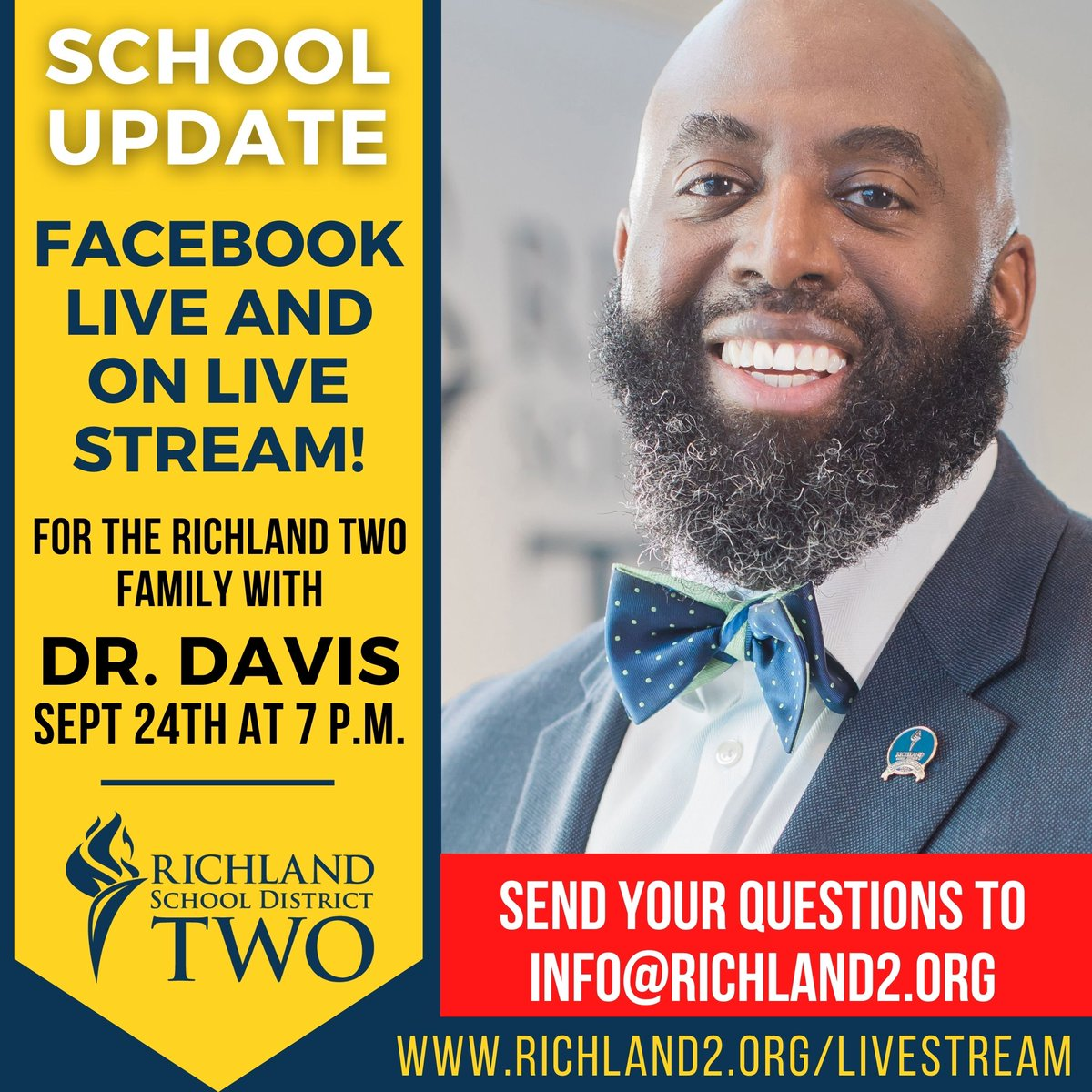 TUNE IN THIS THURSDAY, SEPT 24TH AT 7 P.M. FOR AN UPDATE FROM OUR SUPERINTENDENT, DR. BARON DAVIS!  HAVE QUESTIONS? Send them to info@richland2.org  https://t.co/1l0e35lSb3 https://t.co/y38xDBAzxu @DrBaronDavis https://t.co/0bVcXsS359