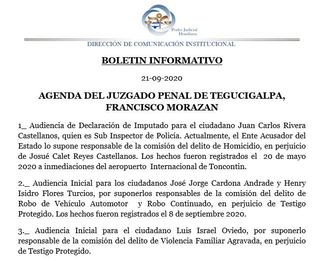 Agenda del #JuzgadoPenal de #Tegucigalpa, #FranciscoMorazán https://t.co/MujIvsLg3K