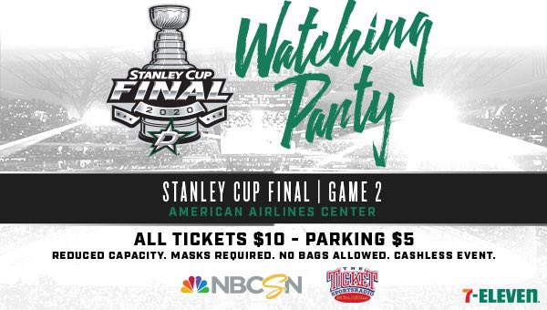 Game 2 Watching Party TONIGHT!! Please note that the Silver Garage will not be open for parking - Lot E and the Lexus Garage will be! Let's go @DallasStars!! https://t.co/Y90LIXHaZD