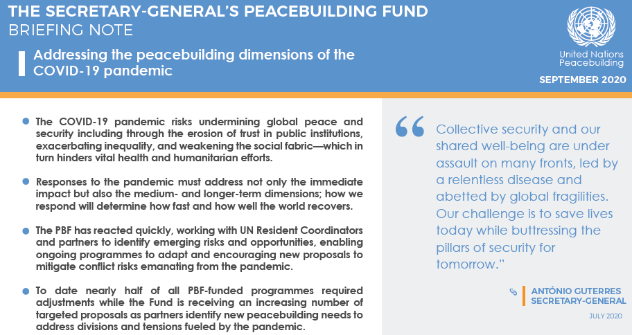 'Collective security & our shared well-being are under assault on many fronts, led by relentless disease & abetted by global fragilities. Our challenge is to save lives today while buttressing the pillars of security for tomorrow'@antonioguterres Peacebuilding dimensions #COVID19 https://t.co/hV07Ga8Fz4
