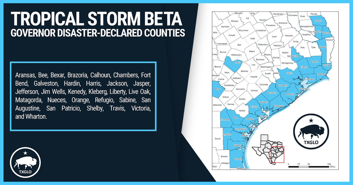 Tropical Storm #Beta is expected to bring up to 20 inches of rain and flooding to some areas of the Texas Coast. Dont drive on flooded streets and #TurnAroundDontDrown. Find current roadway condition updates at drivetexas.org.