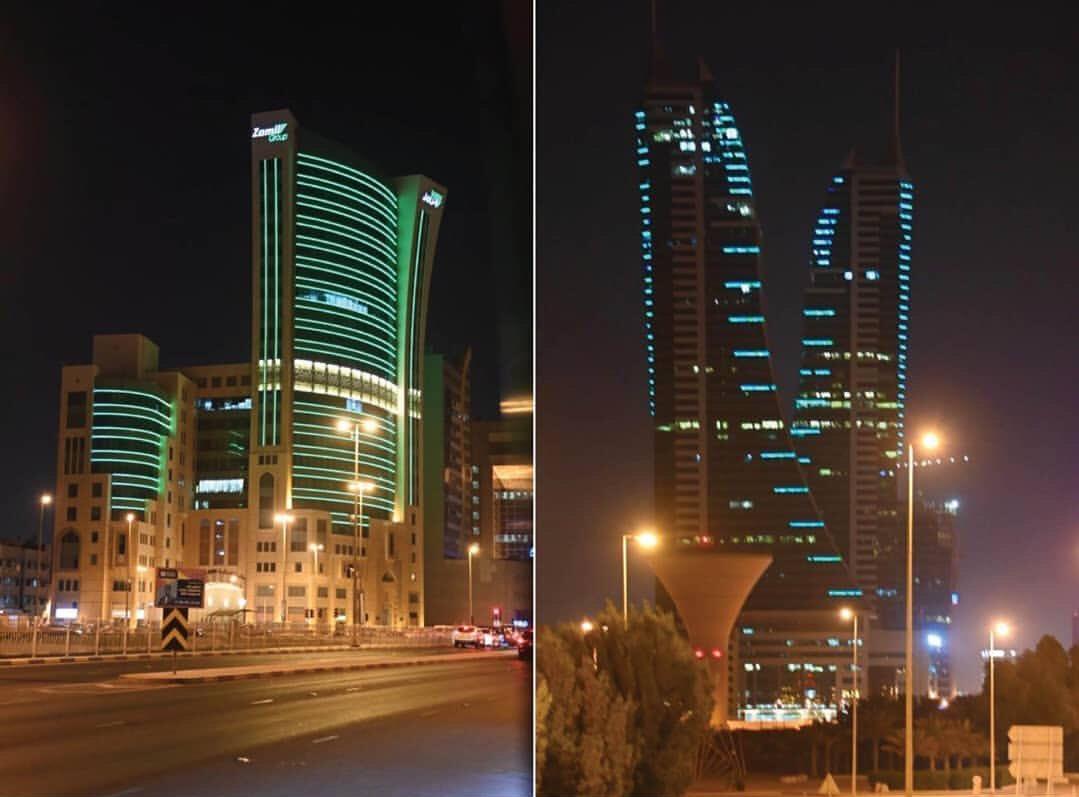 مباني المنامة تتزين باللون الاخضر إستعداداً لليوم الوطني السعودي 🇧🇭♥️🇸🇦  #SaudiArabia  #Bahrain https://t.co/K9tVFLQJwR