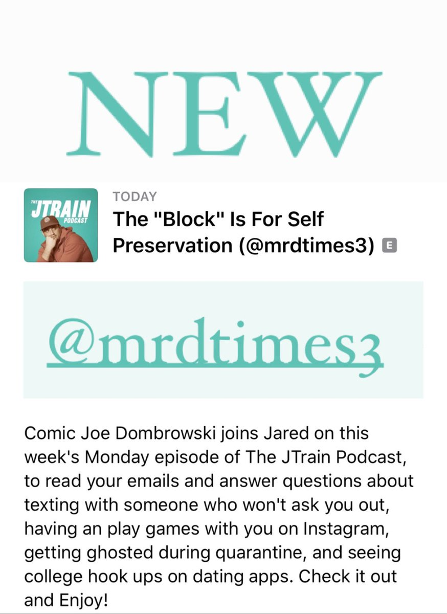 """NEW @JTrainPodcast with @MrDtimes3!! The """"Block"""" Is For Self Preservation!! podcasts.apple.com/us/podcast/the…"""