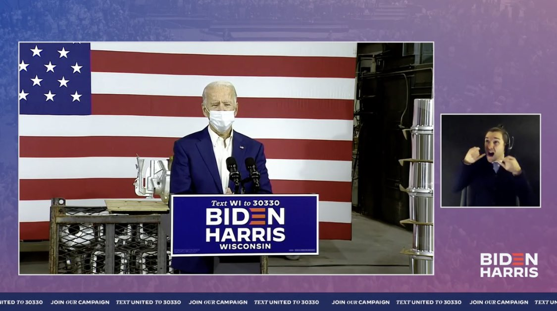 Can someone explain why @JoeBiden is wearing a mask while he gives a speech with no one else around him? 🤔🙄 https://t.co/eKzawdRZg3