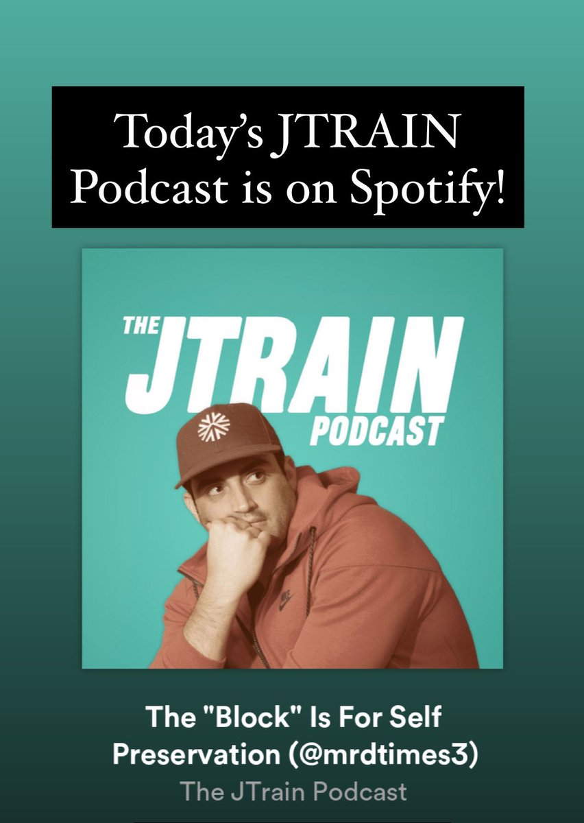 Today's @JTrainPodcast with @MrDtimes3 is on @Spotify!! open.spotify.com/episode/4uPykh…