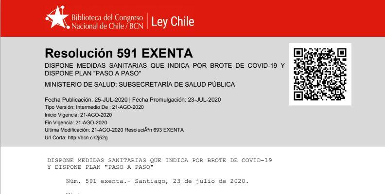 """Estimada red, compartimos con ustedes documento preparado por el Ministerio de Salud Chile que contiene la """"Resolución 591 EXENTA – DISPONE MEDIDAS SANITARIAS QUE INDICA POR BROTE DE COVID-19 Y DISPONE PLAN """"PASO A PASO""""  https://t.co/tKQnvFkkNx #Covid_19 #Minería #supervisor https://t.co/6IGh8BeT3Q"""