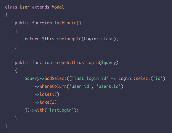 You can create dynamic relationships — this relationship is based on a column that's added using a subquery, in a scope