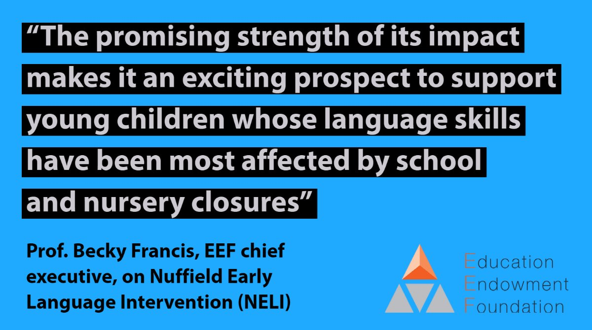 EEF Promising Project, Nuffield Early Language Intervention, available FREE to all primary schools.   Find out more: https://t.co/cMbU8G8ABL Register your school's interest: https://t.co/OBbva7h3im https://t.co/uWCtyn8j1a