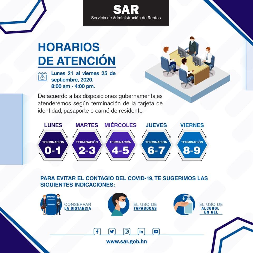 #Servicios| Compartimos el horario de los servicios presenciales, habilitados en las oficinas de: #Tegucigalpa, #SPS y #LaCeiba.   Servicios Disponibles: •Emisión de RTN por primera vez. •Baja de obligaciones. •Notificación de cierre de operaciones. https://t.co/7aOdsBPy8O