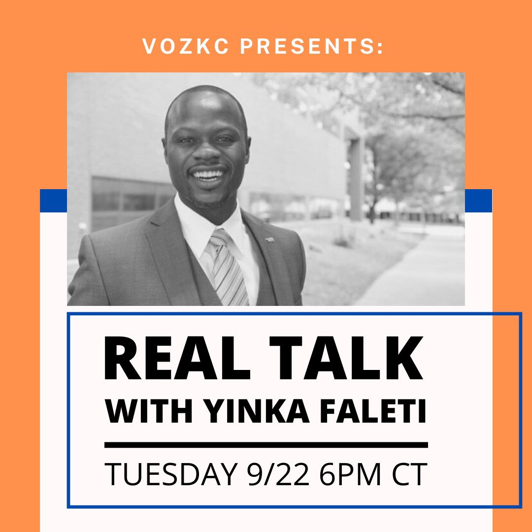 Here we go #KCMO and #STL! @Voz_KC and @comunidadstl  are partnering together to introduce SOS candidate @yinka_faleti to the #Latinx communities in our cities.   Have any questions? Feel free to share them. https://t.co/ExbjvGB3Al https://t.co/s1C8sYu0WW