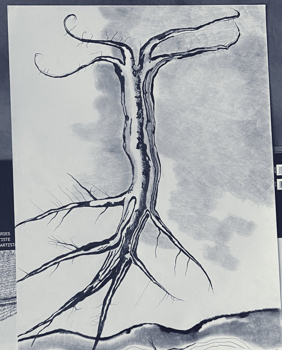 Tree falling from the sky.    Árbol patas arriba.      #tree #dibujo #drawing #surreal #apocalypse2020 @RoyalDrawing @SickDrawings https://t.co/oiCoryc1z3