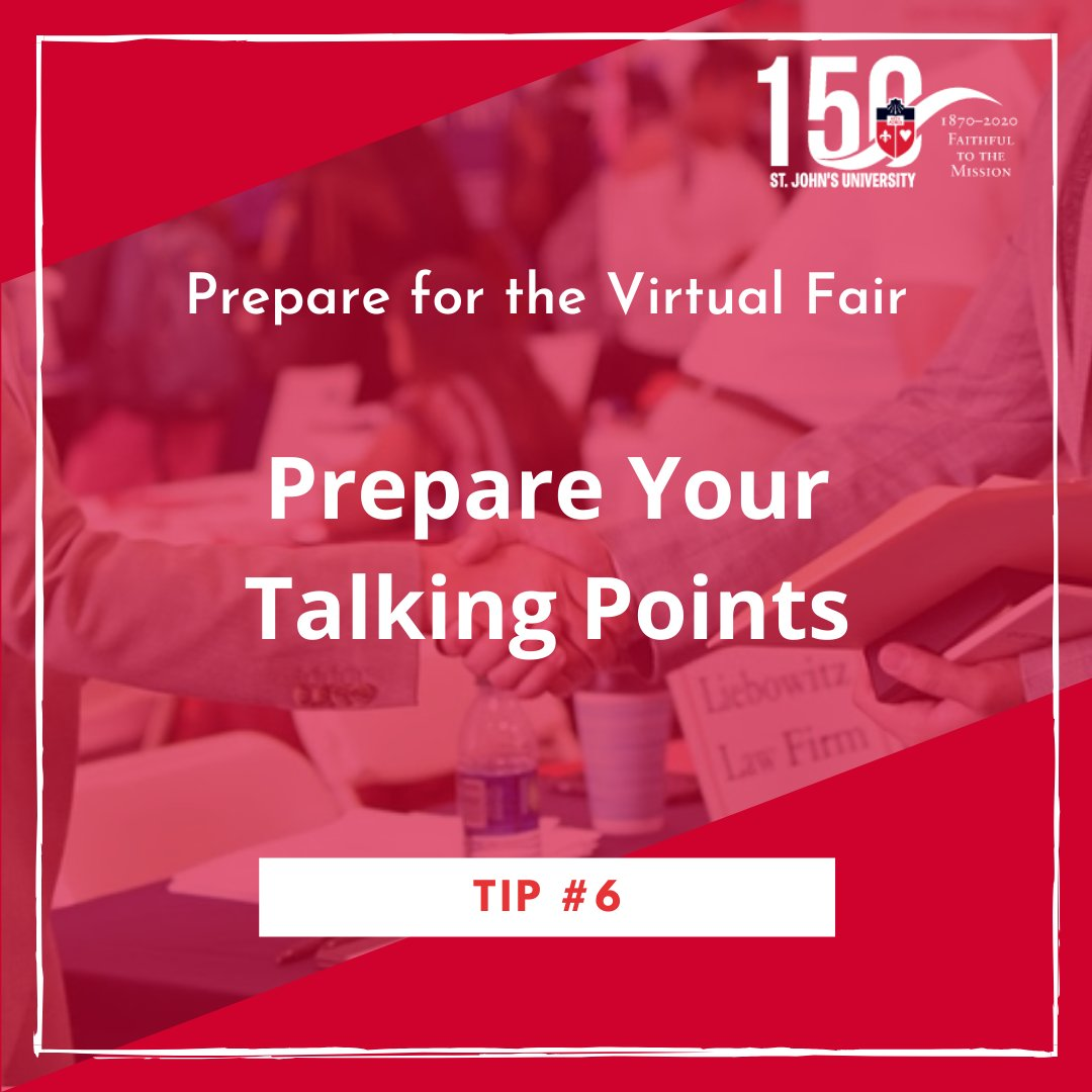 """Prepare your """"30-second pitch"""" • Include your name and year, along with your interest and qualifications • Highlight your strengths and provide examples. Remember, this """"pitch"""" is used to get the conversation started, so don't stress about memorizing it #GetHiredStJohns"""