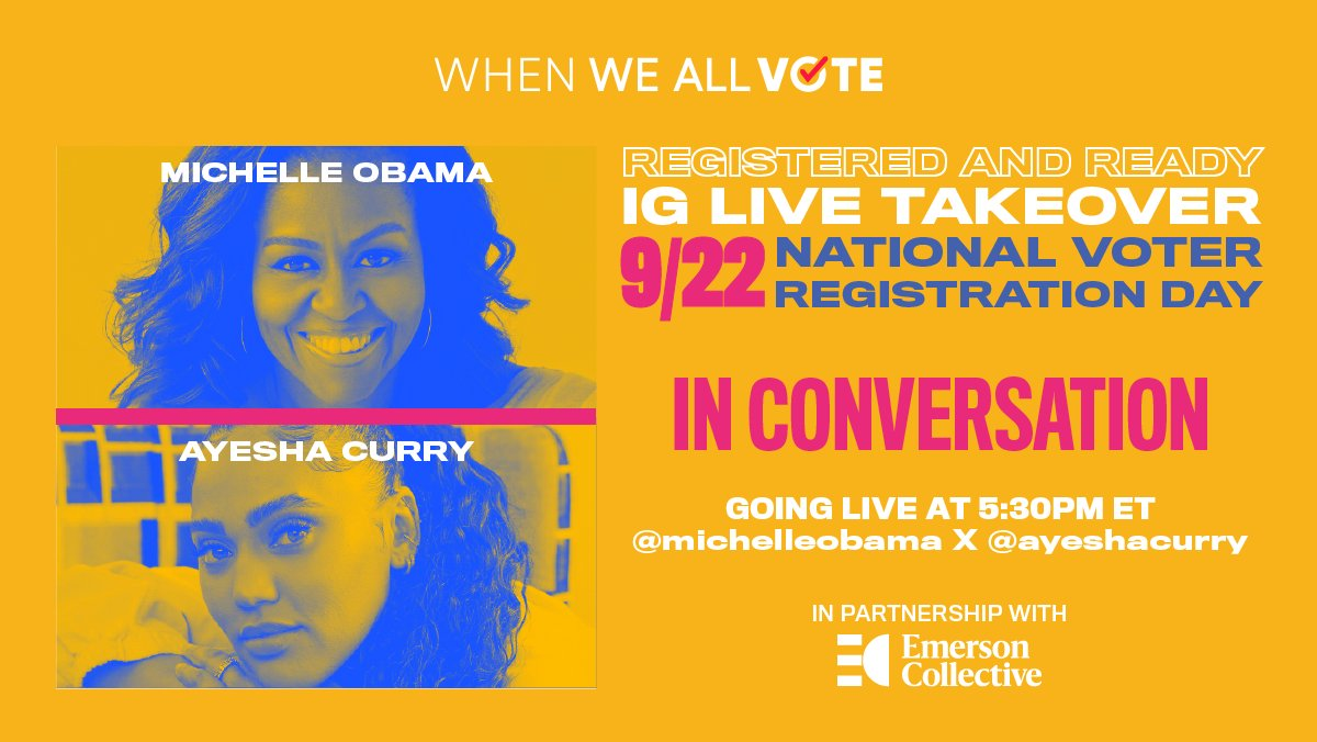 Black ✨ Girl ✨Magic Tune in to see @MichelleObama and @AyeshaCurry LIVE in conversation: weall.vote/voteready