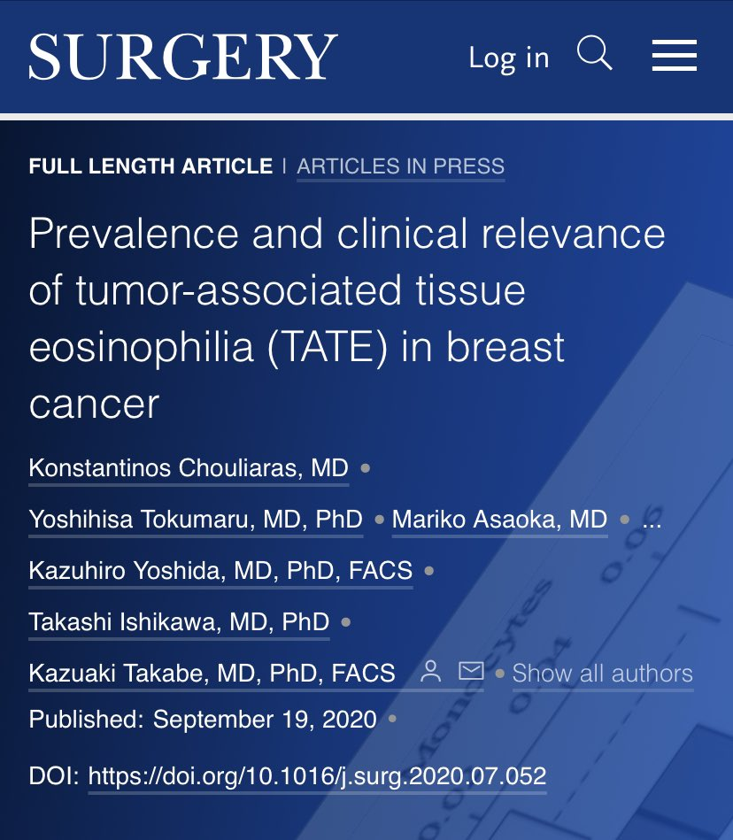 Prevalence and clinical relevance of tumor-associated tissue eosinophilia (TATE) in #breastcancer   @SurgJournal @ELSSurgery #SoMe4Surgery   https://t.co/lMK7ONhr8T https://t.co/0WPTPcVgZE