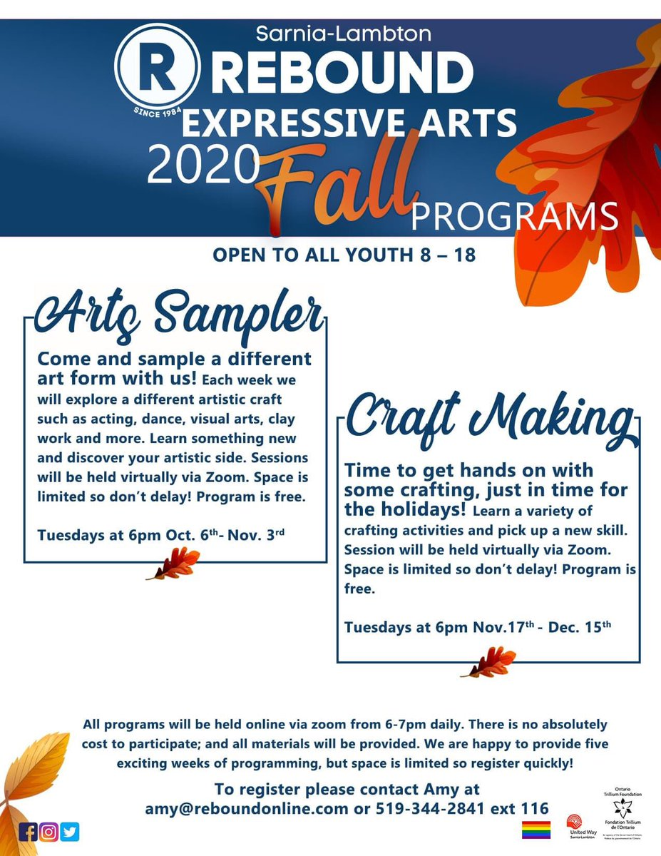 Sarnia-Lambton Rebound's Fall programming intakes are underway, including the upcoming Expressive Arts sessions. These two fun programs are free for youth ages 8-18. Contact Amy at 519-344-2841 ext 116 or email amy@reboundonline to register. #Sarnia #Lambton #youth #mentalhealth https://t.co/RSgglfCR1i