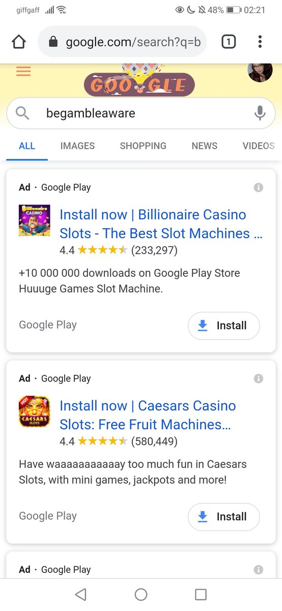 """Looked up """"begambleaware"""", a site made to support people with gambling addictions ... Look what came up. @Google sort this, please? https://t.co/eob8A5agSR"""